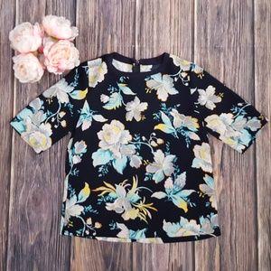 Ann Taylor, Floral Short Sleeve Top, Blue, Small
